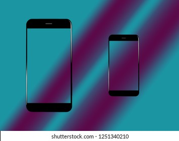 two devices copy space on gradient color background
