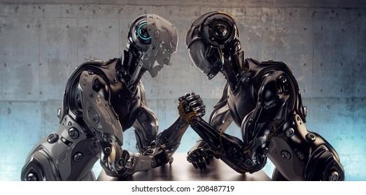 Two different robotic models in arm wrestling duel. 3d render / Robotic Arm Wrestling