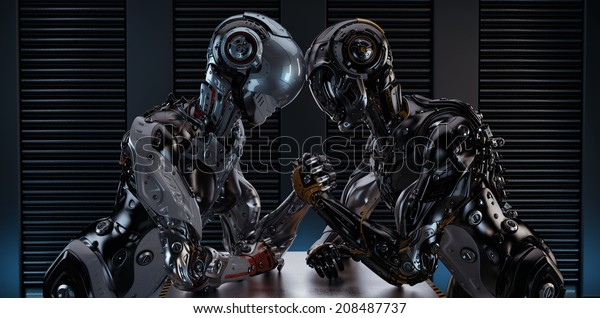 Two Different Robotic Models Arm Wrestling Stock