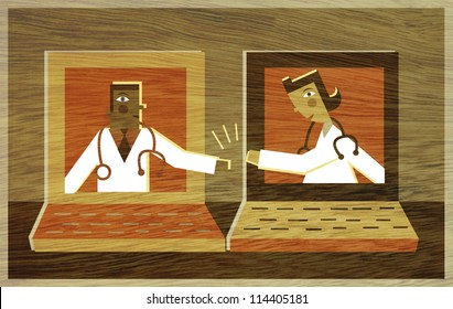 Two doctors in different lap top screens high-fiving each other