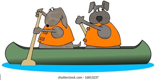 Two Dogs Paddling A Canoe