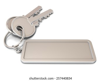 Two door keys and rectangular blank label on ring. 3D illustration, isolated on white background