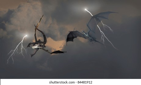 Two dragons fighting an aerial battle during a lightning storm, 3d digitally rendered illustration