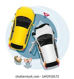 Zwei Fahrer stehen nach einem Unfall in der Nähe ihres Autos. Cartoon-Illustration, Draufsicht.