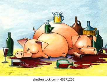 Two drunk and happy pigs lie on the floor