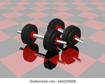 two dumbbells on red black checkered floor with reflection. 3d rendering