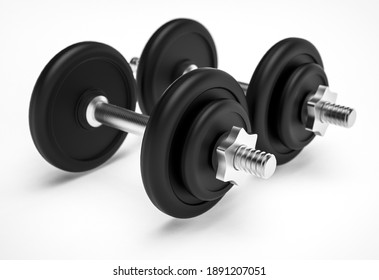 Two dumbbells on white isolated background, 3d rendering