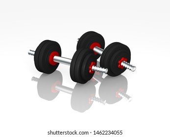 two dumbbells with reflection. 3d rendering