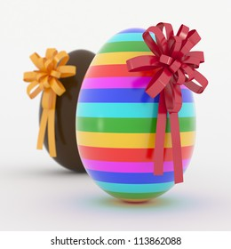 Two Easter Eggs with yellow and red ribbon.