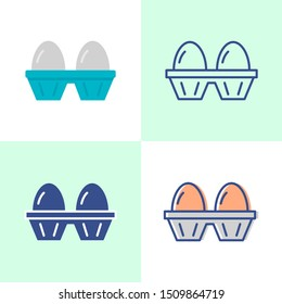 Two eggs pack icon set in flat and line style. Fresh breakfast food symbol.