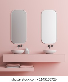 Two elegant bathroom sinks standing on a pink shelf. Two vertical mirrors hanging above them. Pink wall bathroom interior. Close up. 3d rendering