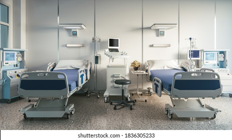 Two empty bed in a hospital room with medical equipment. 3d illustration