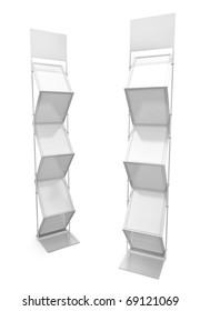 Two empty brochure stands. 3D render.