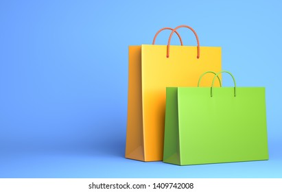Two Empty Shopping Bags on the blue. 3D illustration