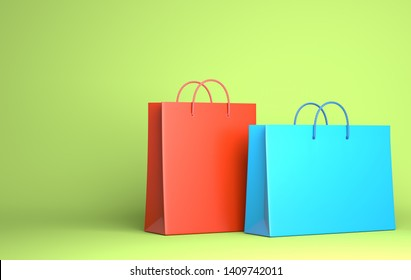 Two Empty Shopping Bags on the green. 3D illustration