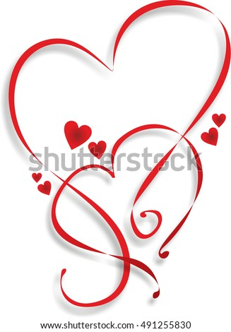 two entwined hearts template decoration stock illustration 491255830