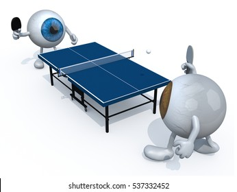 two eyeballs with arms and legs that playing to table tennis, 3d illustration