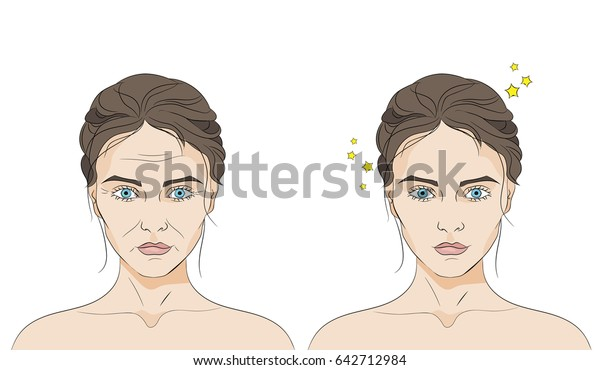 Two faces of a same woman with and without wrinkles on white background