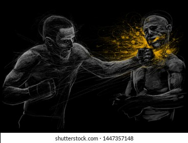 Two fighting man  aggressive Fight  graphic illustration on black background. Poster for billboards sports Boxing competitions fights
