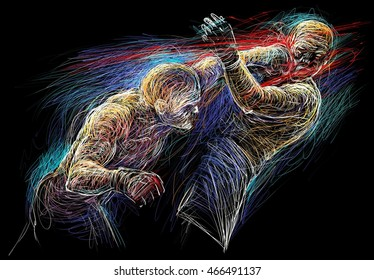 Two fighting man  aggressive Fight  graphic illustration on black background