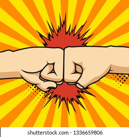 Two fists bumping together  illustration, two hands with fists in air punching, concept of fight, strength cartoon gesture on white background, flat line outline art.