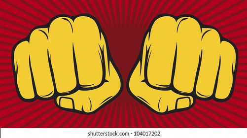 two fists punching