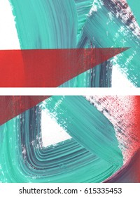 Two fragments of original abstract paintings set, contemporary art. Perfect background for text, poster for art or electronic music show. Dark aquamarine green and saturated red brush strokes, spray.