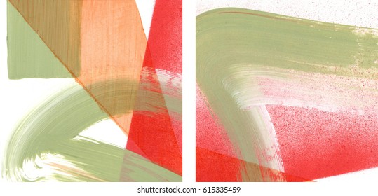 Two fragments of original abstract paintings, contemporary art. Perfect background for text, poster for art or modern electronic music show. Bright grass green and saturated red brush strokes, spray.