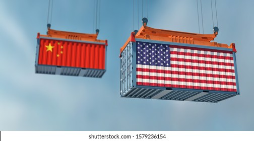 Two freight container with USA and China flag. 3D Rendering