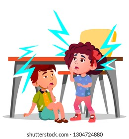 Two Frightened Kids Sitting Under The Table During Earthquake. Illustration