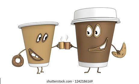 Two funny coffee cups drink hot chocolate with a bagel and donut. Cartoon style. 3D visualization