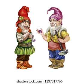 two funny gnomes in hats holding in hands a precious stone, kind fairy-tale characters isolated on white background