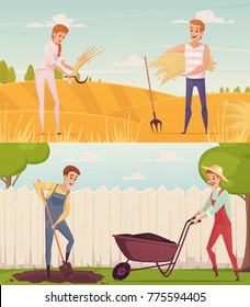 Two gardener farmer cartoon people compositions set with funny cartoon characters doing field and garden work  illustration