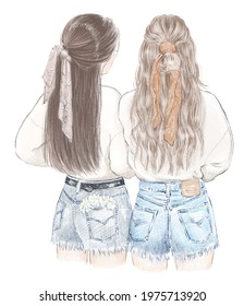 Two girls, best friends in sweatshirts and jeans shorts. Hand drawn illustration