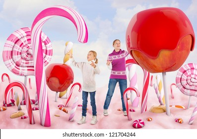 Two girls in a Candy land