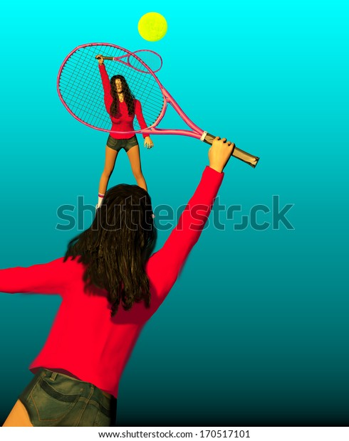 two girls playing tennis over a blue background, 3D illustration, raster illustration