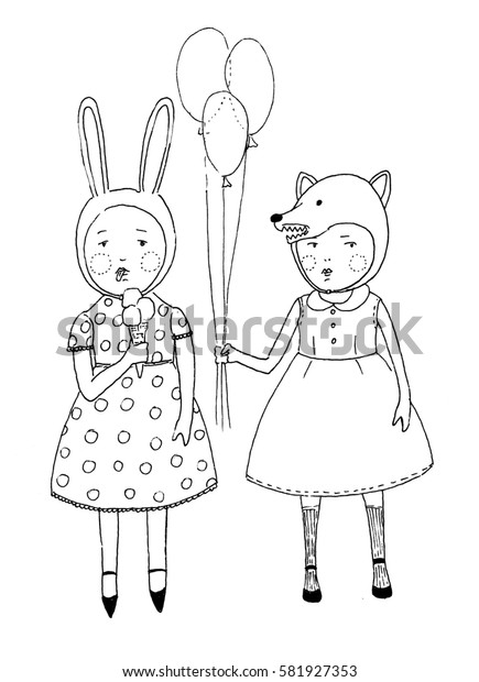two girls. Small cute girls in the animal hats are standing together. one girl is eating ice cream other is holding balloons