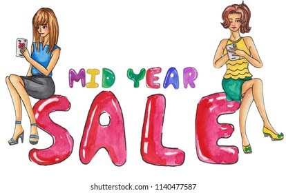 two girls using mobile phone sit on midyear sale banner for special price advertising in mid year promotion