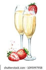Two glasses of champagne and fresh strawberry. Watercolor hand drawn illustration  isolated on white background