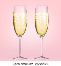 Two glasses of champagne on pink background