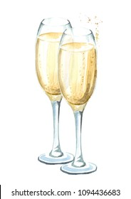 Two glasses of champagne. Watercolor hand drawn illustration  isolated on white background