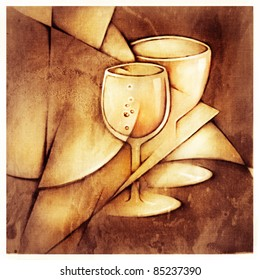 two glasses, decorative stylized artistic painting