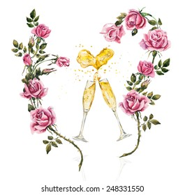 Two glasses. Splashes in the form of heart.  Champagne with roses. Wedding composition. Valentine day. Watercolor hand drawn illustration.