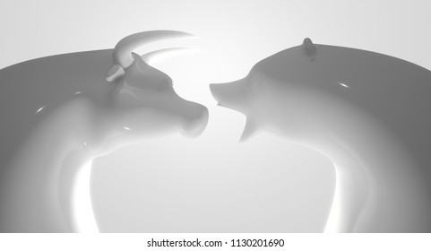 Two glossy white porcelain statuettes depicting a stylized bull and bear in dramatic light representing financial market trends on a white studio background - 3D render
