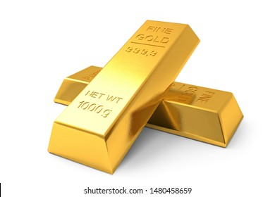 Two Gold bars on a white background closeup. 3d generated image