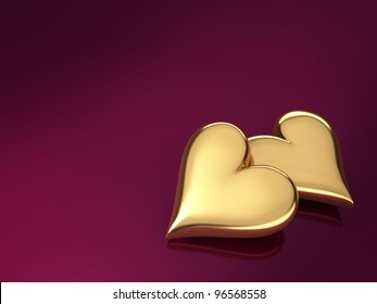 Two gold hearts on a violet background, 3d render