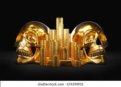 Two gold skulls and stacks of gold coins. 3D illustration metaphor of saving money to the grave, money that kills, high taxes, mortgage, debt and similar.