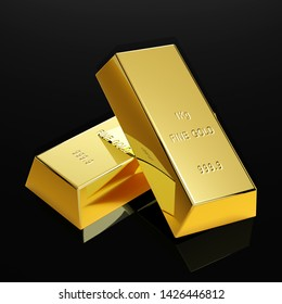 two golden bars in front of background - 3D Illustration