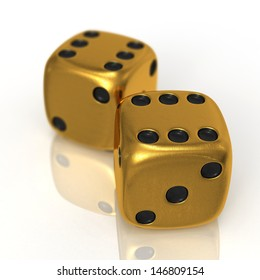 Two golden casino cubes 3d rendered on white background with reflected surface and focus effect