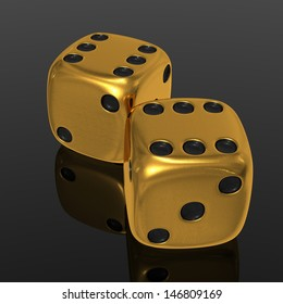 Two golden casino cubes 3d rendered on black background with reflected surface